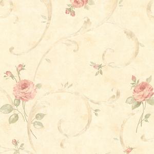 Lotus Pink Floral Scroll Wallpaper 2530-60121