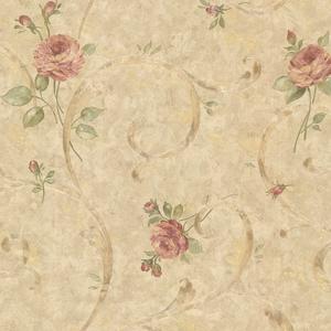 Lotus Bronze Floral Scroll Wallpaper 2530-60122