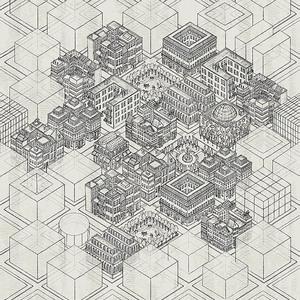 Building Blocks Grey Mural 347618
