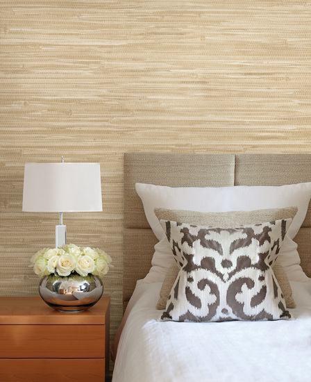 Bing Qing Beige Grasscloth Wallpaper 63-54726