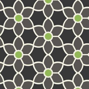 Blossom Black Geometric Floral Wallpaper 2535-20606