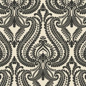 Imperial Black Modern Damask Wallpaper 2535-20625