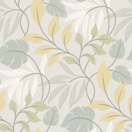 Eden Blue Modern Leaf Trail Wallpaper 2535-20628