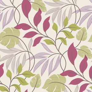 Eden Purple Modern Leaf Trail Wallpaper 2535-20630