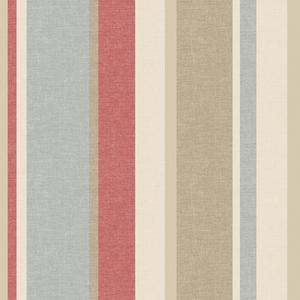 Raya Red Linen Stripe Wallpaper 2535-20633