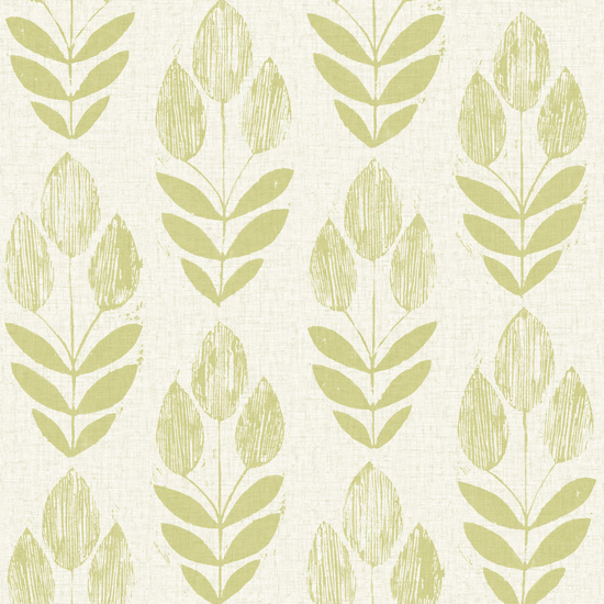 Scandinavian Green Block Print Tulip Wallpaper 2535-20649
