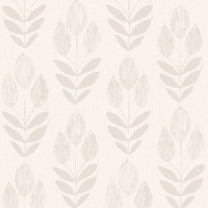 Scandinavian Grey Block Print Tulip Wallpaper 2535-20650