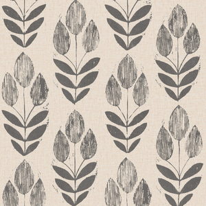 Scandinavian Black Block Print Tulip Wallpaper 2535-20651