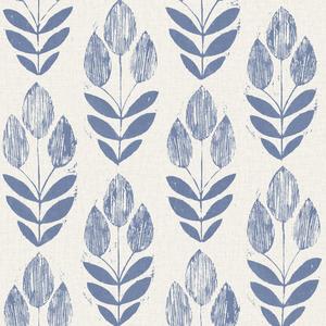Scandinavian Blue Block Print Tulip Wallpaper 2535-20652