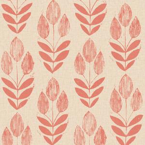 Scandinavian Red Block Print Tulip Wallpaper 2535-20653
