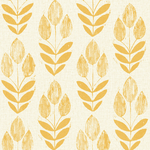 Scandinavian Yellow Block Print Tulip Wallpaper 2535-20654