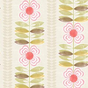 Flora Pink Modern Floral Stripe Wallpaper 2535-20671