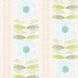 Flora Blue Modern Floral Stripe Wallpaper 2535-20673