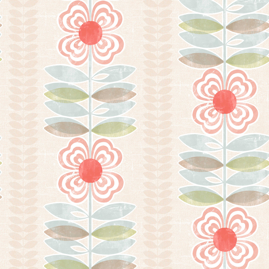 Flora Red Modern Floral Stripe Wallpaper 2535-20674