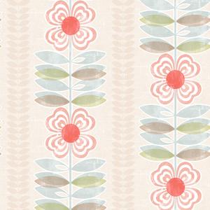 Flora Red Modern Floral Stripe Wallpaper 2535-20674