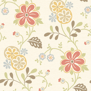Amelie Red Modern Floral Trail Wallpaper 2535-20677
