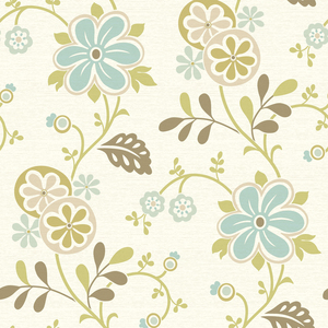 Amelie Blue Modern Floral Trail Wallpaper 2535-20678