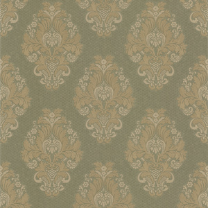 Bromley Olive Satin Damask Wallpaper 990-65012