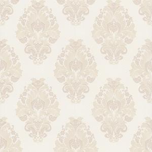 Bromley White Satin Damask Wallpaper 990-65014