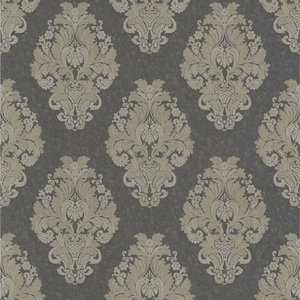 Bromley Charcoal Satin Damask Wallpaper 990-65015