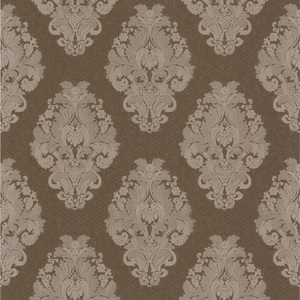 Bromley Brown Satin Damask Wallpaper 990-65016