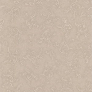 Highgate Taupe Embroidered Scroll Wallpaper 990-65054