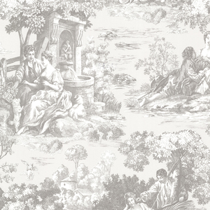 Isabella Grey Toile Wallpaper 2668-21512