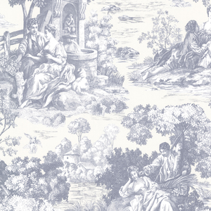 Isabella Blue Toile Wallpaper 2668-21513