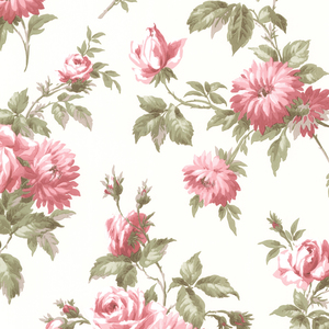 Charlotte Pink Vintage Rose Toss Wallpaper 2668-21542