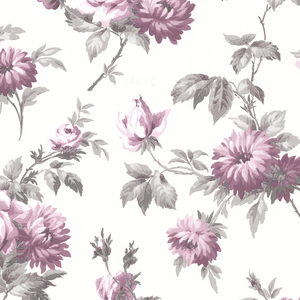 Charlotte Purple Vintage Rose Toss Wallpaper 2668-21543