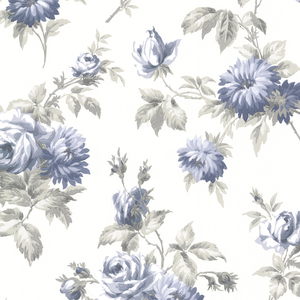 Charlotte Blue Vintage Rose Toss Wallpaper 2668-21544