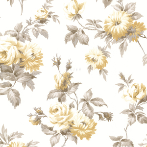Charlotte Yellow Vintage Rose Toss Wallpaper 2668-21545
