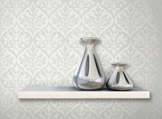 Sumatra Silver Ikat Damask Wallpaper 2542-20701