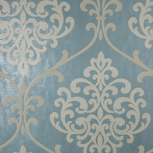 Ambrosia Teal Glitter Damask Wallpaper 2542-20715