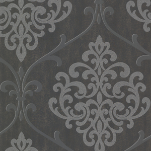 Ambrosia Charcoal Glitter Damask Wallpaper 2542-20718