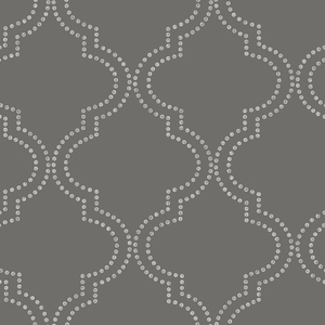 Tetra Charcoal Quatrefoil Wallpaper 2625-21801