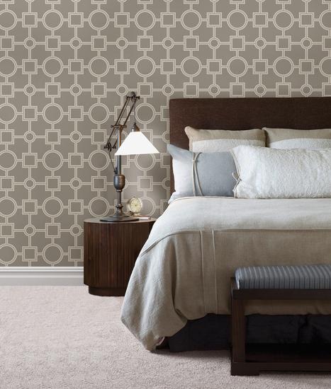 Matrix Taupe Geometric Wallpaper 2625-21810