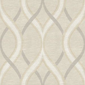 Frequency Beige Ogee Wallpaper 2625-21849