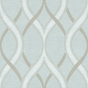 Frequency Turquoise Ogee Wallpaper 2625-21851