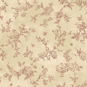 French Nightingale Dark Red Toile CCB02191