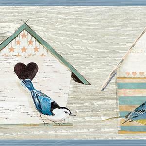 Cottage Chic Birdhouses Blue Border CCB2241