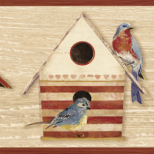 Cottage Chic Birdhouses Dark Red Border CCB2242
