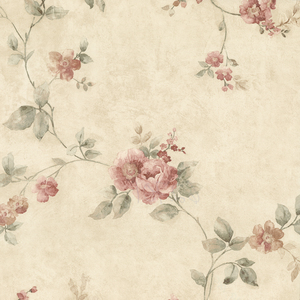 Mary Salmon Floral Vine Wallpaper 992-62701