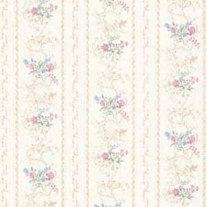 Maury Pink Floral Bouquet Stripe Wallpaper 992-68335