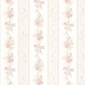 Lorelai Blush Floral Stripe Wallpaper 992-68300