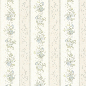 Lorelai Light Blue Floral Stripe Wallpaper 992-68301