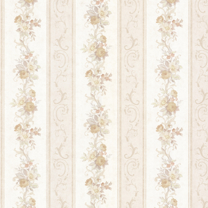 Lorelai Taupe Floral Stripe Wallpaper 992-68302