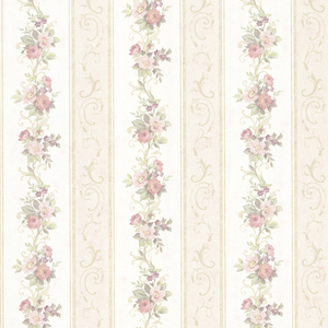 Lorelai Light Green Floral Stripe Wallpaper 992-68303