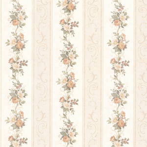Lorelai Peach Floral Stripe Wallpaper 992-68304