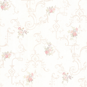 Lori Blush Floral Trellis Wallpaper 992-68305